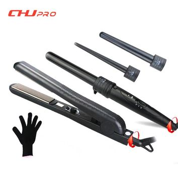 Interchangeable Hair Curling Iron Machine Ceramic Hair Curler Set With Hair Straightener High Quality Curling Wand Styling Tool