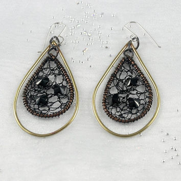 Elegant earrings. Big drops. Mother of the bride earrings. Black Swarovski crystal earrings.