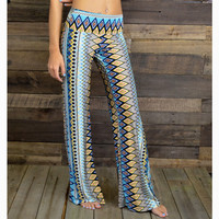 Tatum Waves Tribal Blue Palazzo Pants