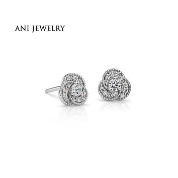 14KT White Gold 0.4 CT Certified I/S2 Natural Diamond Love Knot Earrings