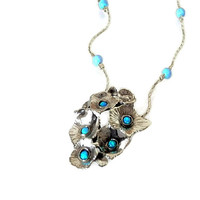 Opal necklace, silver necklace, Blue opal necklace, beads necklace, Multi flower necklace, bouquet necklace, gift for her, israel jewelry