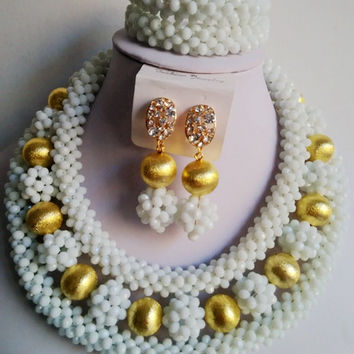 Chunky White Nigerian Traditional Wedding Necklace Sets Costume African Beads Jewelry Sets BJN076