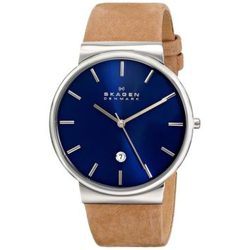 Skagen Men's Ancher SKW6103 Brown Leather Quartz Watch | Overstock.com Shopping - The Best Deals on Skagen Men's Watches