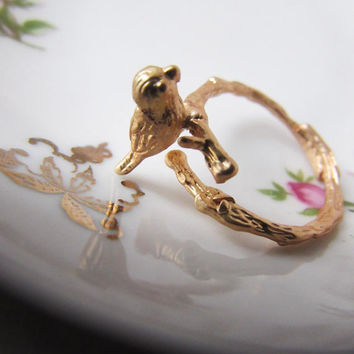 18k Matte Gold Little Bird On Branch ring, Branch ring, Bird ring