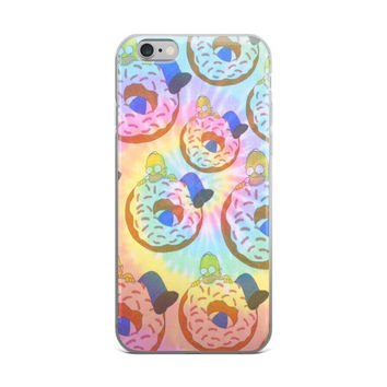 Homer Simpson Hippy Donuts Teen Cute Girly Girls The Simpsons Tie Dye Bleach iPhone 4 4s 5 5s 5C 6 6s 6 Plus 6s Plus 7 & 7 Plus Case