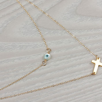 "Evil eye cross necklace, double strand necklace, evil eye necklace, gold sideways cross necklace, layer necklace, gold necklace, ""Hecate"""