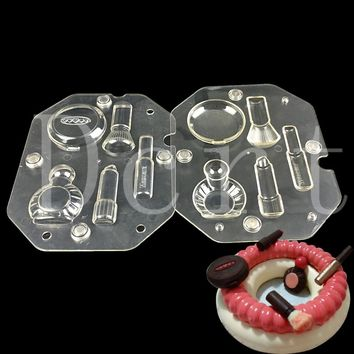 Valentine special gift 3d DIY chocolate molds,Cosmetic Kit shape polycarbonate chocolate mold making pastry candy tools
