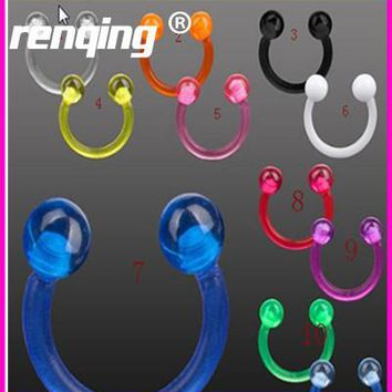 10pcs/lot Candy Colors Horseshoe Fake Nose Ring Acrylic Lip Ear Nose Ring Hoop No Piercing Women/Men Body Jewelry 9 Color 3mm