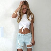 European 2016 Women Clothing Female Crop Tops Summer Style New Bow Tie Navel T-shirt #NS271