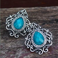Vintage Facet Blue Gem Drop Shape Earrings from topsales