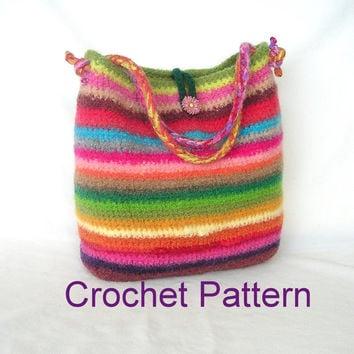 Crochet Bag Pattern Tutorial pdf, Rainbow Felted Bag Crochet Pattern, instant download file