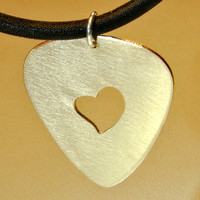 Guitar Pick Necklace with Heart Handmade from Bronze with Space to Personalize Along the Edges - NL695
