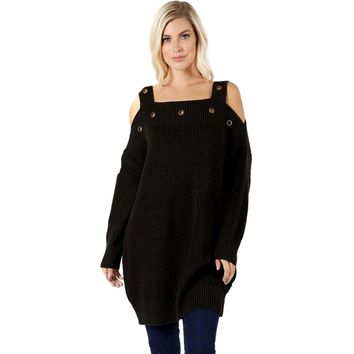 Cold Shoulder Tunic Sweater With Eyelet Detail, Ash Grey