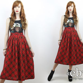 Vintage 90s Grunge High Waisted Plaid Maxi Skirt L XL Tartan Plaid Skirt 90s Skirt Red Plaid Midi Skirt Red Plaid Skirt Pleated Midi Skirt