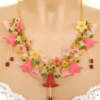 Pink Lucite Flower Statement Necklace