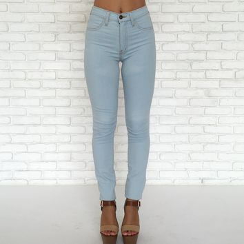 Light Blue Denim High Waist Skinny Pants