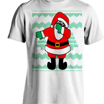 Dabbin Santa White Unisex Graphic Ugly Christmas T-shirt
