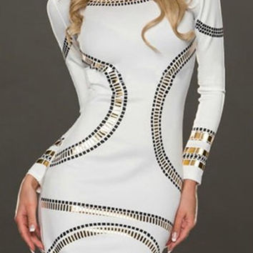 White Patchwork Long Sleeve Sheath Dress