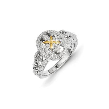 Antique Style Sterling Silver with 14k Gold Diamond Ring