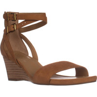 Franco Sarto Danissa Double Ankle Strap Wedge Sandals - Biscuit