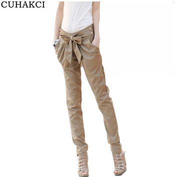 CUHAKCI High Waist Bow Harem Pants Women Summer Pleated Elastic Casual Pants With Pocket Female 2017 New Black Khaki Trousers