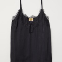 Satin and Lace Camisole Top - Black - Ladies | H&M US