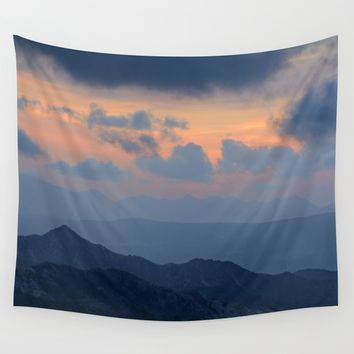 """Sunset at mountains"" Mountain light Wall Tapestry by Guido Montañés"