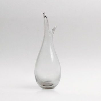 Mid Century Danish Transparent Glass Vase -Holmegaard