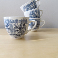 vintage wedgewood countryside castle blue cups by ionesAttic