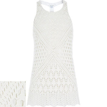 River Island Girls white crochet longline tank