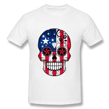 American Flag Sugar Skull T-Shirts - Men's Crew Neck Novelty Top Tee