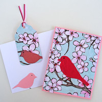 Bird and Blooms Greeting Card with Matching Gift Tag, Handmade Notecard, Card for Bird Lovers, Pink and Blue, Any Occasion Card