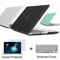 Best Matte Case For Apple macbook Pro 13 15 with Retina 13.3 inch For Mac book laptop Case + Keyboard Cover + Screen Protector