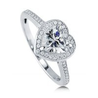 BERRICLE Sterling Silver 1.34 Carat Heart Shaped Cubic Zirconia CZ Halo Promise Engagement Ring