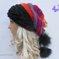 Cable Knit Oversized Beret Neck Warmer Slouchy Mohair Wool Hat beanie Rainbow Tube Scarf  Pom Poms Chunky
