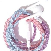 Wrapped Tangle Free Earbuds for iPhone Pixie Dust Blue Pink Lavender with Microphone and Volume Control
