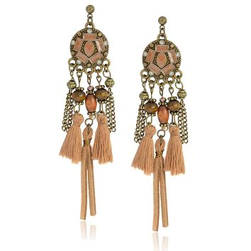 Miss Zoe Indian Style Dreamcatcher tassels Drop Earrings Beads chain Danglers Bohemia Ethnic Vintage Charm BOHO Ear Jewelry