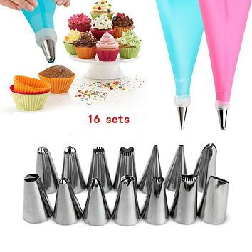 16pcs/set Stainless Steel Cookie Assortment Tools Decoration Cake Decorating Tools Bake-ware Flowers silicone mold