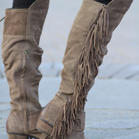 Fearlessly Free Knee High Suede Fringe Boots-Taupe