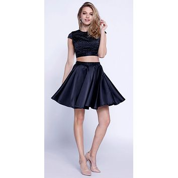 Cap Sleeves Two-Piece Beaded Short Prom Dress Cut Out Back Black