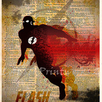 The Flash art - The Flash poster -  Vintage Silhouette print  - Retro Super Hero Art - Dictionary print art
