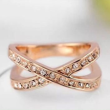 Rose gold plated ring / X ring / Austrian crystals ring / Gold ring with crystals / Rose gold ring with crystals / Statement ring