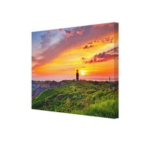Sunset Sunrise with Lighthouse Shore Canvas Print