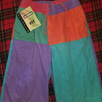 Vintage 80's 90's Multi-color Block Mens Shorts Small Saturday's New Old Stock