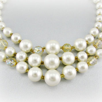 Vintage Bead Necklace, JAPAN Necklace, White Pearl Necklace, Gold Crystal Necklace, Triple Multi-Strand, 1950 Wedding Bridal Costume Jewelry