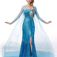 Frozen Princess Snow Queen Elsa Fancy Dress Cosplay Costume (6, Elsa Shoes)