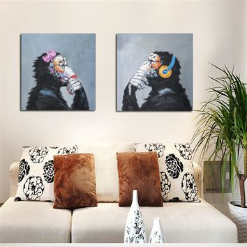 Modern Abstract Thinking Monkey with Headphone Canvas Wall Art