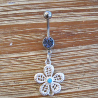 Belly Button Ring - Body Jewelry - Silver Flower with Purple Gem Belly Button Ring
