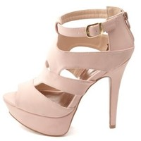 Qupid Caged Cut-Out Peep Toe Platform Heels