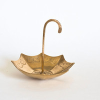 Mid Century Brass Umbrella Trinket Tray, Ring Holder, Jewelry Holder, Gold Tone